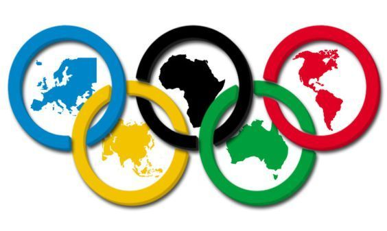 The Olympic flag has a white background, with five interlaced rings in the centre: blue, yellow, black, green and red. This design is symbolic; it represents the five continents of the world, united by Olympism, while the six colours are those that appear on all the national flags of the world at the present time.