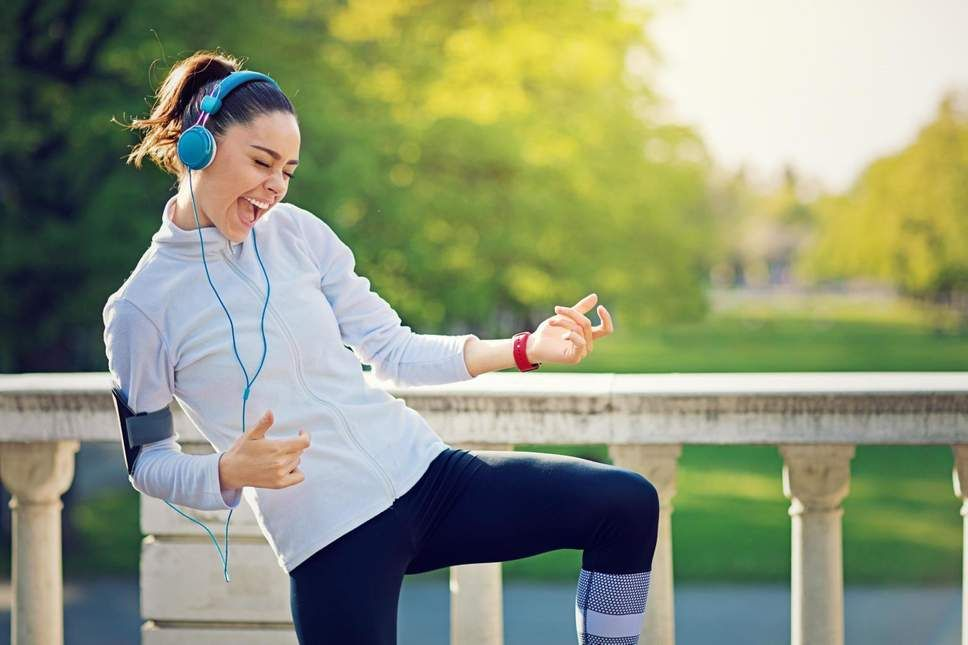 Listening to music while working out measurably improves physical performance.