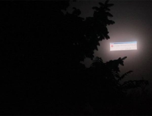 In 2009, a billboard in Odessa, Ukraine crashed in the fog, making it look like the sky was showing an error message.