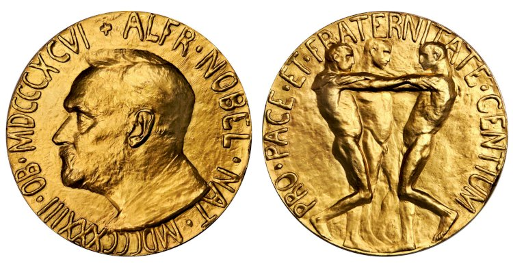The Nobel Peace prize medal depicts 3 naked men with their hands on each other's shoulders.