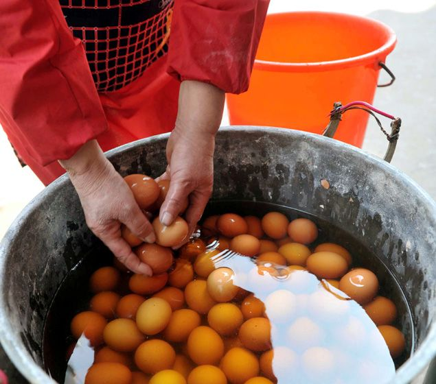 Eggs boiled in the urine of young virgin boys are a spring delicacy in Dongyang, China.