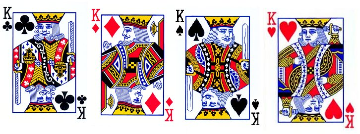 In a standard deck of cards, the King of Hearts is the only king without a mustache.
